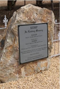 James and Sarah Kemp memorial