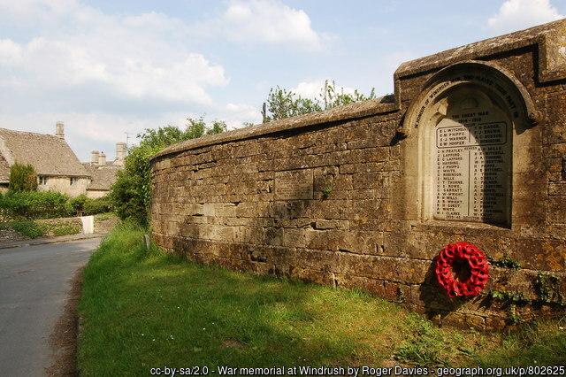 Eustace Hooper - War Memorial, Windrush, Gloucestershire