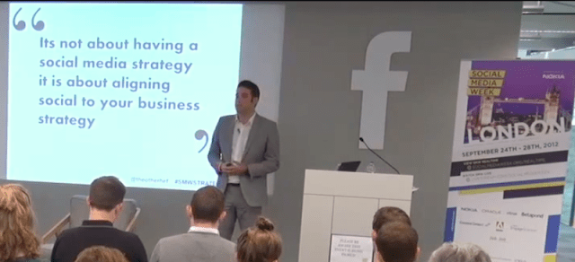 Chris Heffer speaking at Facebook for Social Media Week