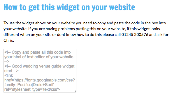 Get wedding venue widget on your website