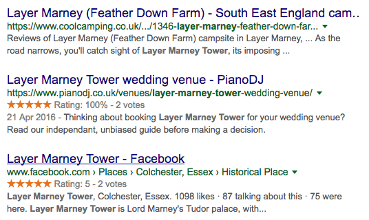 Wedding venue rating reviews in google search results