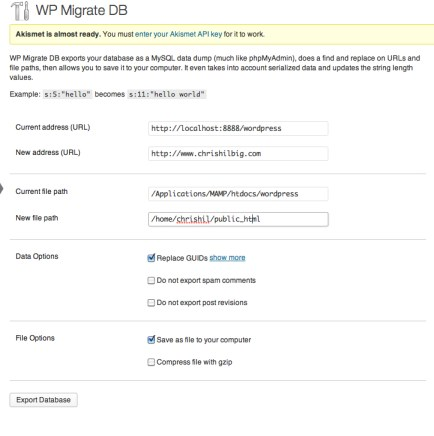 WP Migrate DB screen
