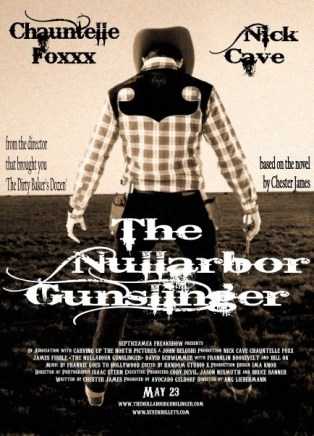 The spoof poster for The Nullarbor Gunslinger, the film that Chester (Danny Alder) wrote the book for.