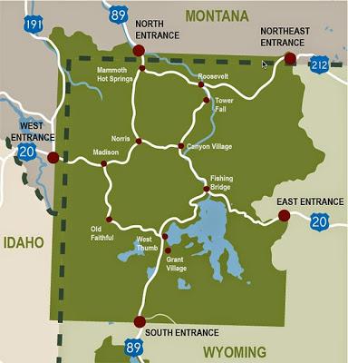 黃石公園8字形路線圖
