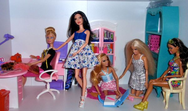 Barbie in her sewing room