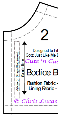Gotz Just Like Me Sewing Pattern Piece Sample