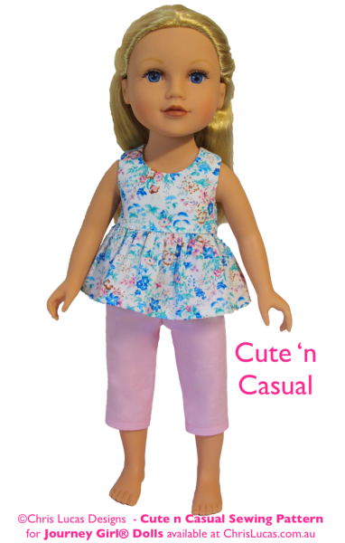 Chris Lucas Designs - Cute n Casual - JOURNEY GIRL Doll Sewing Pattern - Capri Pants and Top