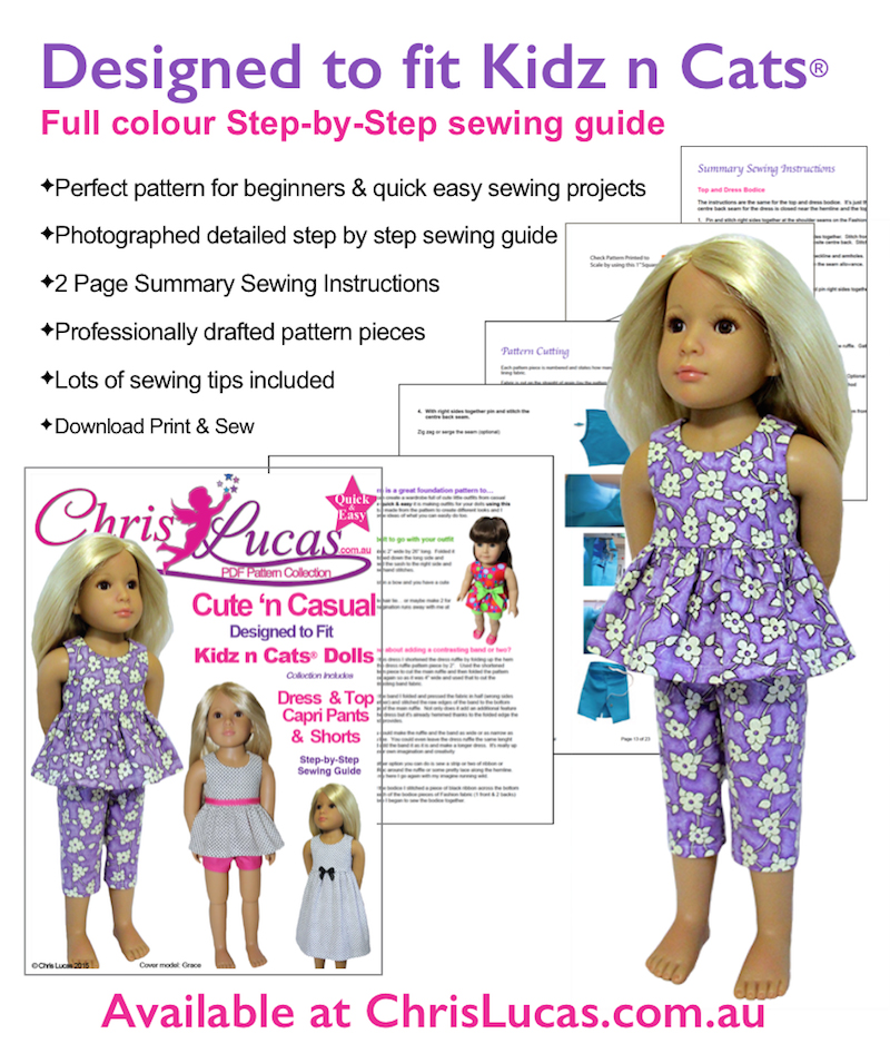 Sewing Pattern for Kidz n Cats Dolls... Super Cute n Casual too ...