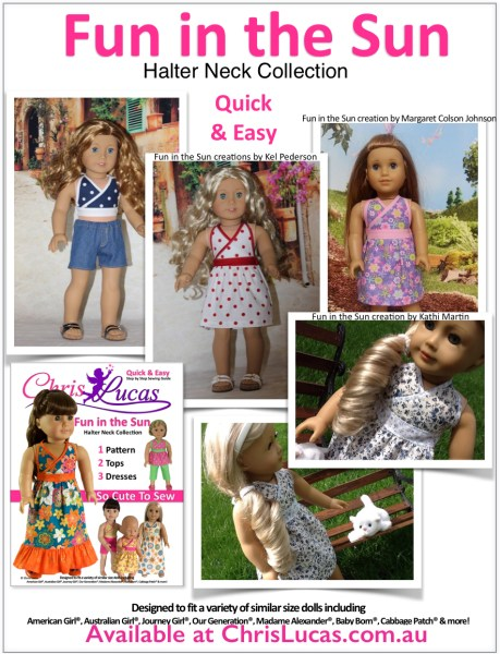 Chris Lucas Designs - Fun in the Sun - Halter Neck Collection - Doll Sewing Pattern