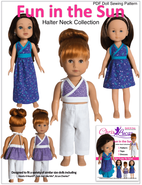Chris Lucas Designs - Fun in the Sun - Doll Sewing Pattern for Hearts 4 Hearts - Gotz Just Like Me - Les Cheries Dolls