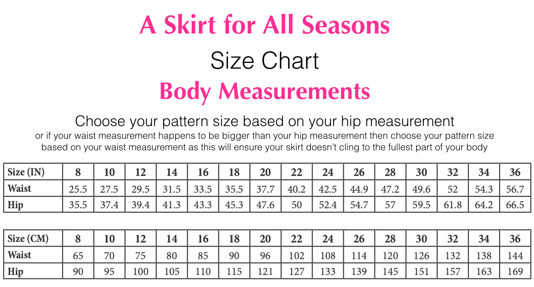 Chris Lucas Designs - A Skirt For All Seasons - Size Chart