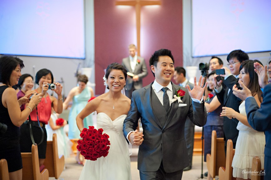 Christopher Luk 2012 - Erin and Brian's Wedding - Toronto Korean Presbyterian Church Bayview Golf and Country Club - Toronto Lifestyle Wedding Photographer - Bride and Groom Walking Down the Aisle Recessional