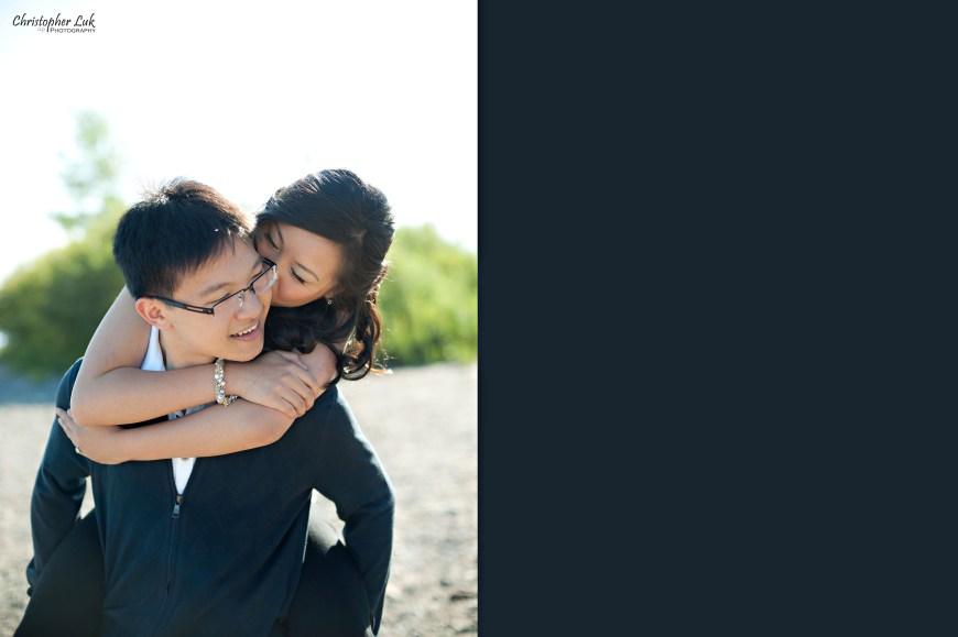 Christopher Luk 2012 - Engagement Session - Keren and Mat - Cherry Beach Historic Distillery District - Toronto Wedding Lifestyle Lifetime Photographer - Piggyback Kiss Laugh Smile