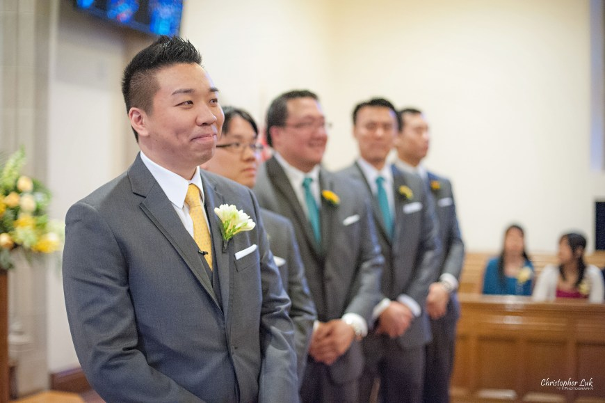 Christopher Luk 2013 - Emily and Ken's Spring Wedding - Glenview Presbyterian Church and Chateau Le Jardin Conference & Event Centre Venue - Toronto Wedding Portrait Lifestyle Photographer - Ceremony Groom Groomsmen Facial Expression Smile