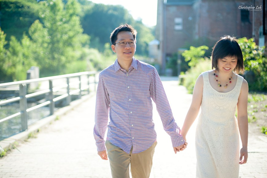 Christopher Luk 2013 - Grace and Victor - Engagement Session - Don Valley Evergreen Brickworks - Toronto Wedding Event Photographer - Bride and Groom Walking Together Holding Hands