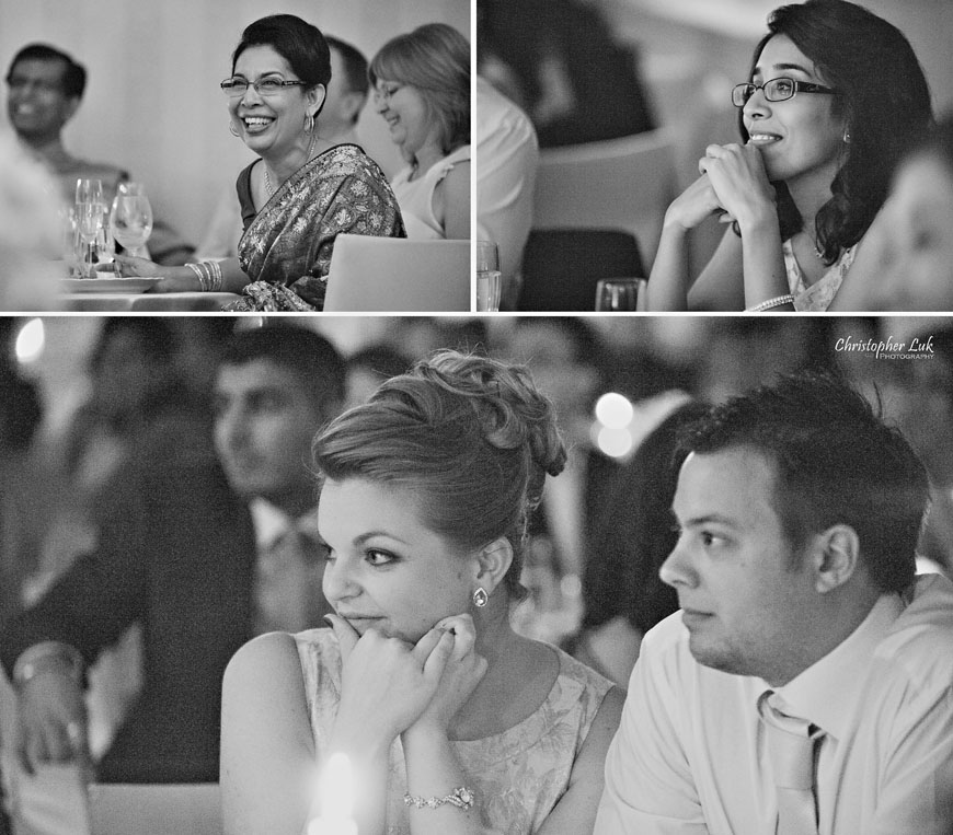 Christopher Luk 2013 - Dinithi and Steve's Wedding - Estates of Sunnybrook Markham Museum - Toronto Wedding Event Photographer - Bride and Groom Thank You Speech Family Mother Siblings Sisters Smile Laugh Black and White