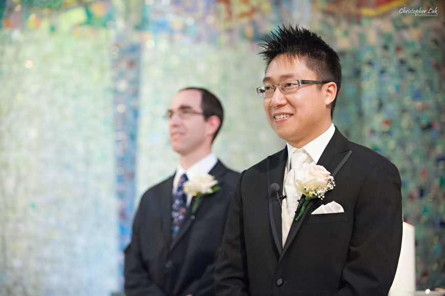 Christopher Luk 2013 - Carmen and Joshua's Winter Wedding - Tyndale University College & Seminary Chapel Carmelina Restaurant - Markham Scarborough Thornhill Toronto Wedding Event Lifestyle Photographer - Groom Smile Reaction of Bride Walking Down the Aisle with Her Father Ceremony Sister's of St Joseph Morrow
