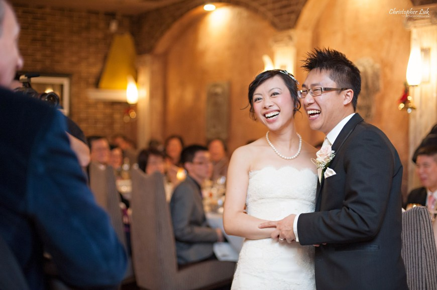 Christopher Luk 2013 - Carmen and Joshua's Winter Wedding - Tyndale University College & Seminary Chapel Carmelina Restaurant - Markham Scarborough Thornhill Toronto Wedding Event Lifestyle Photographer - Bride and Groom Laugh Reaction Live Music Musician Guitar Player Singer Vocalist Candid Photojournalistic Natural