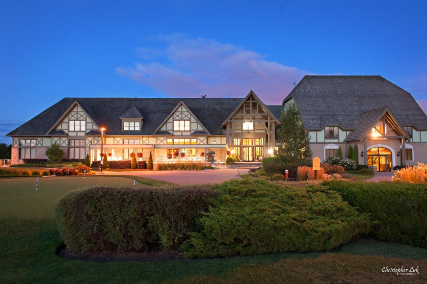 Christopher Luk - Deer Creek Golf Club and Banquet Facility Ajax - Toronto Wedding and Event Photographer - Evening Dusk Sunset Long Exposure Night Time Glow Exterior Front Entrance