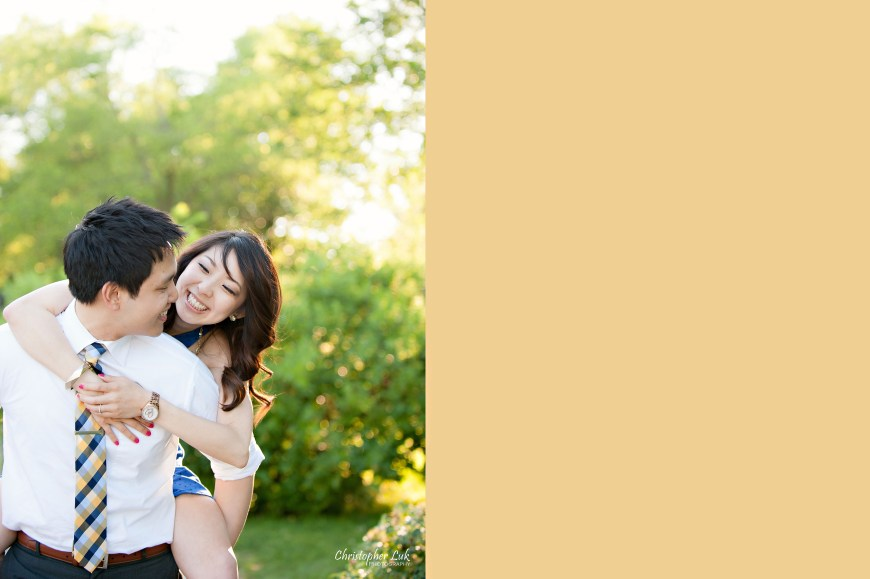 Christopher Luk 2014 - Heidi and Ming-Yun Engagement Session - Markham Richmond Hill Wedding Event Photographer - Candid Relaxed Natural Photojournalistic Sunset Golden Hour Hug Smile Laugh Piggyback