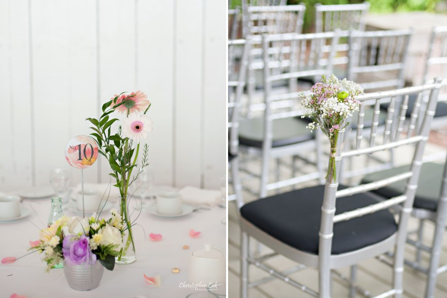 Christopher Luk 2014 - Candy and Francis' Wedding - Grand Hotel Berkeley Field House Evergreen Brick Works - Toronto Wedding Event Photographer - Reception Venue Outdoor Tent Interior Indoor Chiavari Chairs Floral Flower Decor Gerbera Daisies Centrepieces