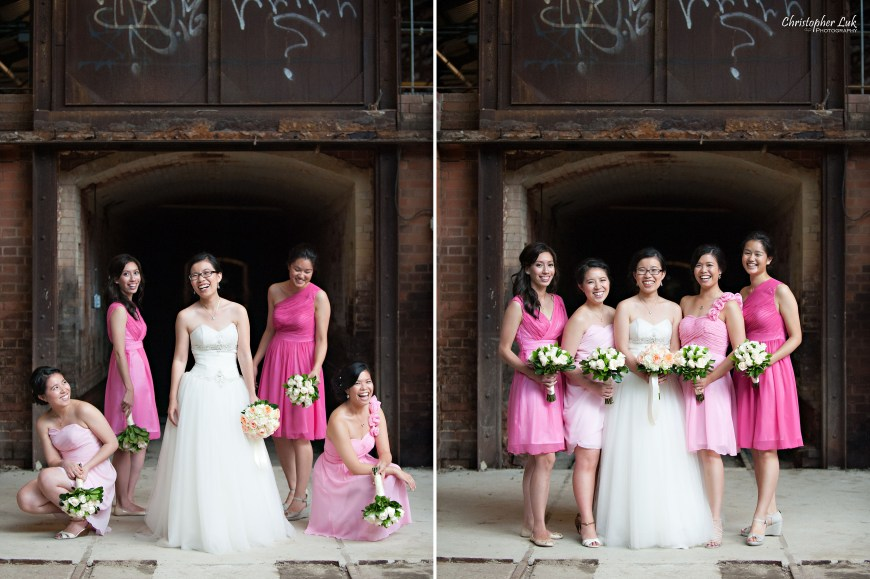 Christopher Luk 2014 - Candy and Francis' Wedding - Grand Hotel Berkeley Field House Evergreen Brick Works - Toronto Wedding Event Photographer - Creative Portrait Session Relaxed Candid Natural Photojournalistic Bride Maid of Honour Bridesmaids Kilns