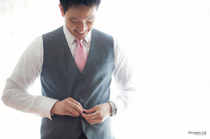 Christopher Luk 2014 - Heidi and Ming-Yun's Wedding - Courtyard Marriott Markham Thornhill Presbyterian Church Chinese Cuisine - Groom Getting Ready Candid Photojournalistic Natural Vest Smile
