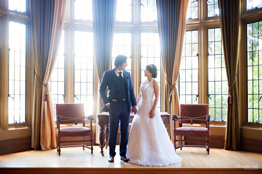 Christopher Luk 2014 - Mikiko and George's Casa Loma Wedding - Toronto Event Lifestyle Photographer - Bride and Groom Creative Relaxed Portrait Session Photojournalistic Natural Candid Interior Castle Bay Window Room Curtains Chairs Antique