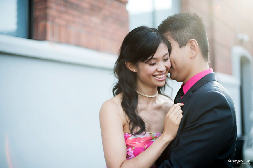 Christopher Luk 2014 - Shauna and Charles' Engagement Session - Liberty Village Toronto Wedding Event Photographer - Bride and Groom Natural Candid Photojournalistic Happy Laugh Smile Kiss Hug Flare