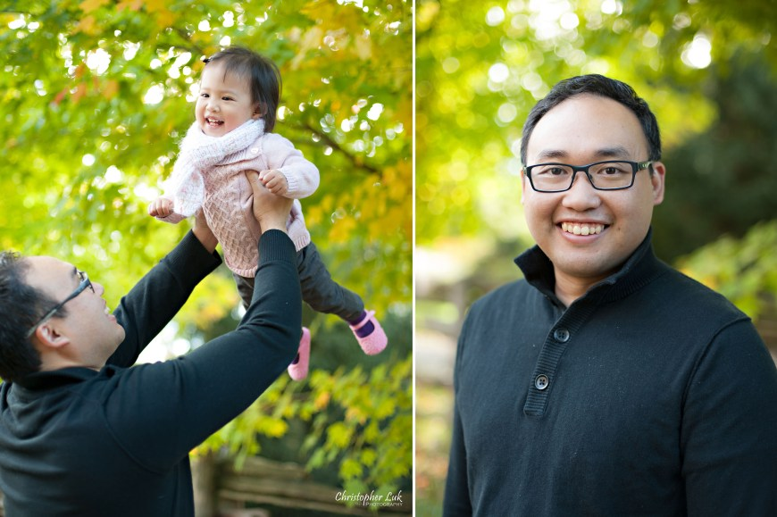 Christopher Luk 2014 - The C Family Baby Toddler Girl Lifestyle Session - Toronto Wedding Event Photographer - Father Dad Daughter Toddler Baby Girl Smiling Autumn Fall Leaves Photojournalistic Candid Natural Relaxed Laugh Smile Lift Jump Bounce Fly Laugh Smile