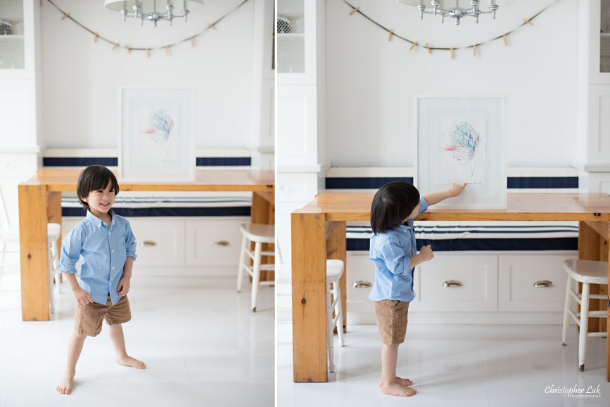 Christopher Luk 2015 - Toronto Family Toddler Winter Spring Indoor Home Session - Toddler Son Boy Smile Laugh Blue Shirt Fashion White Kitchen Bench Chairs Table Children Framed Artwork Signature