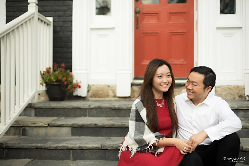 Christopher Luk 2015 - Annie & Jason's Engagement Session Main Street Unionville TooGood Pond - Bride Groom Fiancé Fiancée Hug Smile Granite Slate Stone Steps Candid Photojournalistic Relaxed Natural Posed Red Door Dress Smile