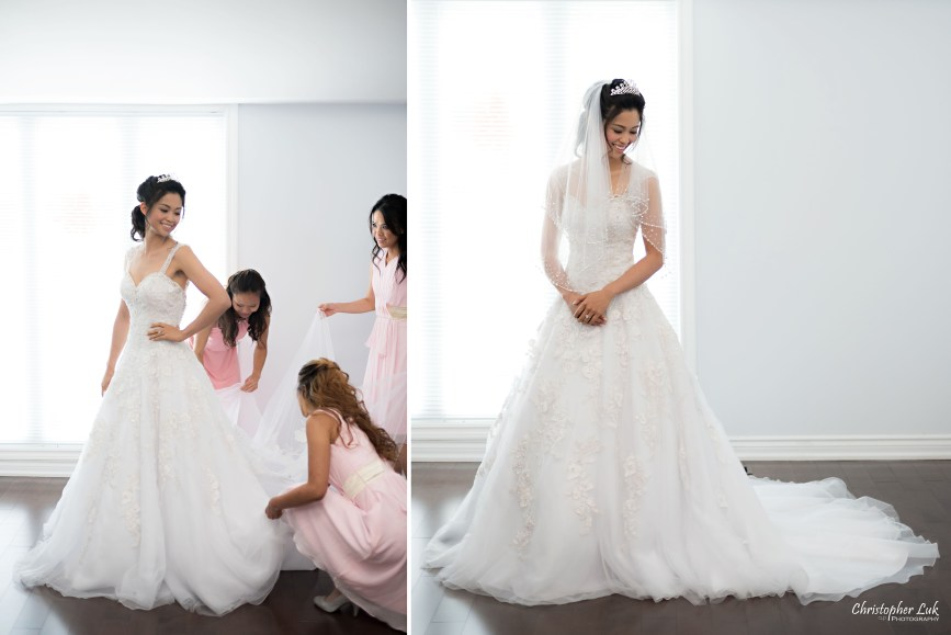 Christopher Luk 2015 - Shauna & Charles Wedding - Bride Bridesmaids Getting Ready White Gown Pink Dress Crystal Tiara