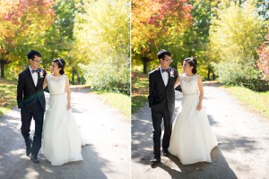 Fall Autumn Wedding Creative Relaxed Portrait Session Photojournalistic Candid Natural Posed Black Creek Pioneer Village Trees Leaves Bride Groom Walk Hug Smile Backlit