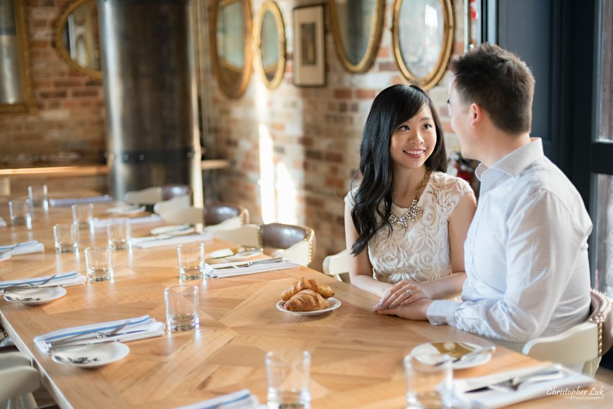Christopher Luk Toronto Wedding Portrait Event Photographer Distillery District Cluny Bistro Boulangerie Restaurant Engagement Session Bride Groom Candid Photojournalistic Natural Interior Design Smile Croissant Cafe Bistro