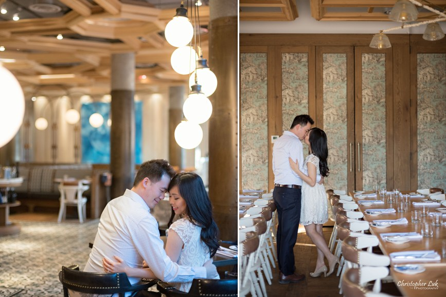 Christopher Luk Toronto Wedding Portrait Event Photographer Distillery District Cluny Bistro Boulangerie Restaurant Engagement Session Bride Groom Edison Bowl Circle Bulb Lights Private Intimate Kiss