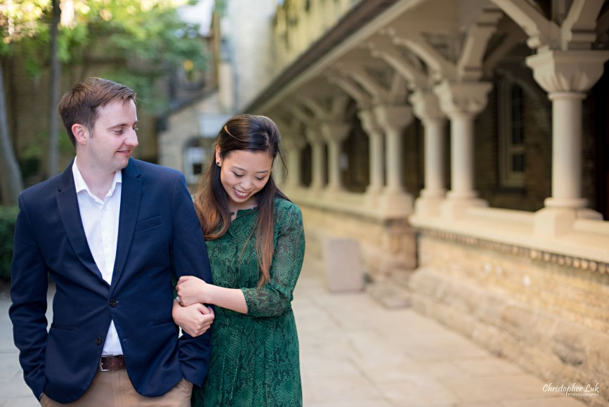 Christopher Luk (Toronto Wedding Photographer): University of Toronto College Doctor of Medicine Engagement Session Bride Groom Natural Candid Photojournalistic Archway Corridor Quad Walkway Hug Hold Arm Walk Look Smile