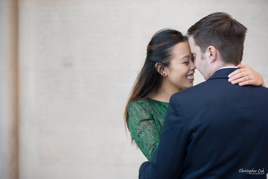 Christopher Luk (Toronto Wedding Photographer): University of Toronto College Doctor of Medicine Engagement Session Bride Groom Natural Candid Photojournalistic Memorial Wall Intimate Snuggle Smile