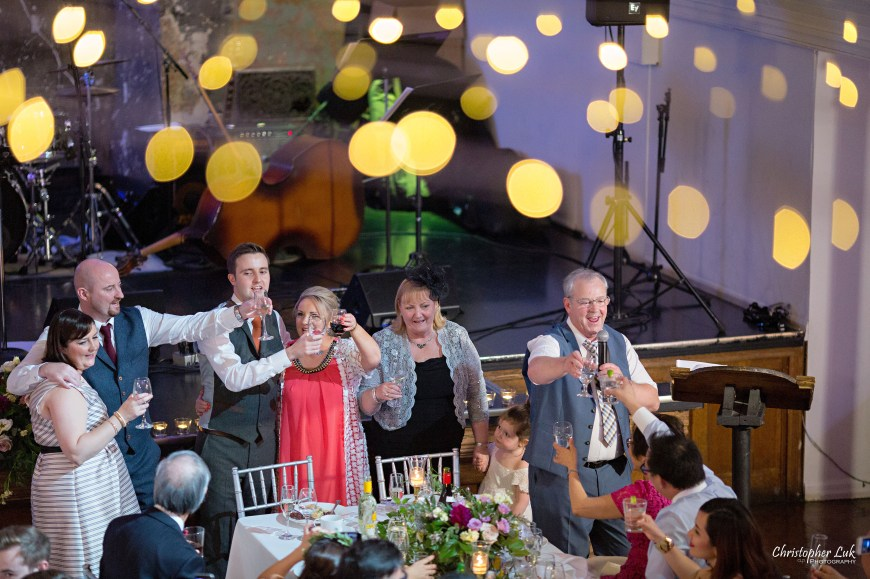 Christopher Luk (Toronto Wedding Photographer): Berkeley Church Vintage Rustic Ceremony Candlelight Dinner Reception Pinterest Worthy Details Candid Natural Photojournalistic Irish Ireland Family Traditional Singer Singing Song Cheers Raise a Glass Toast