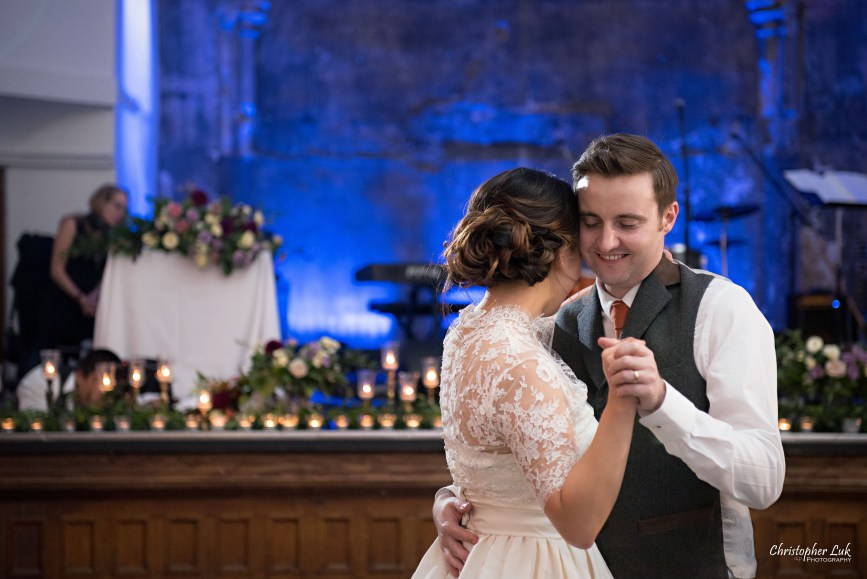 Christopher Luk (Toronto Wedding Photographer): Berkeley Church Vintage Rustic Ceremony Candlelight Dinner Reception Pinterest Worthy Details Candid Natural Photojournalistic First Dance Floor Bride Groom Dancing Hug Close Intimate Smile Hold