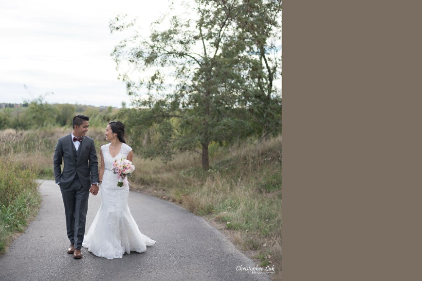 Christopher Luk Toronto Wedding Portrait Lifestyle Event Photographer - Eagles Nest Golf Club Outdoor Ceremony Toronto Raptors Blue Jays Sports Fans Natural Candid Photojournalistic Bride Groom Walking Together Pathway Path