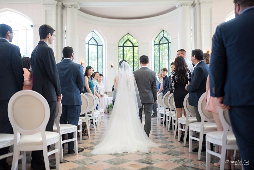 Christopher Luk Toronto Wedding Photographer - Casa Loma Conservatory Ceremony Creative Photo Session ByPeterAndPauls Paramount Event Venue Space Natural Candid Photojournalistic Castle Father of Bride Walking Down Centre Aisle Back
