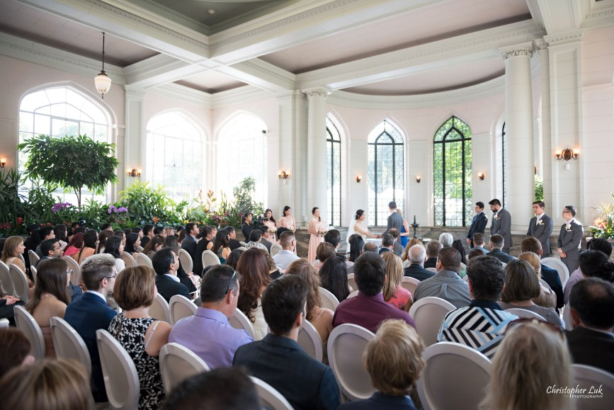 Christopher Luk Toronto Wedding Photographer - Casa Loma Conservatory Ceremony Creative Photo Session ByPeterAndPauls Paramount Event Venue Space Natural Candid Photojournalistic Castle Bride Groom Stained Glass Wide Guests Right Rear