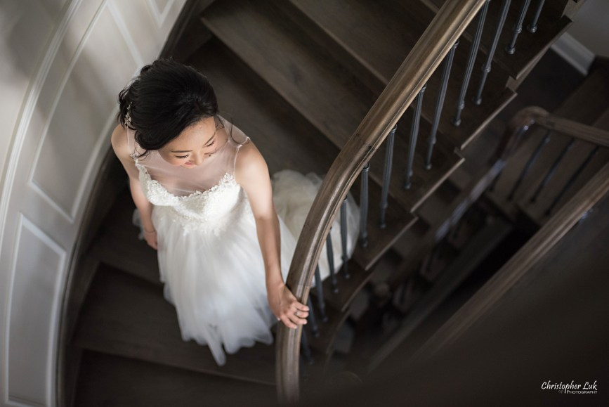 Christopher Luk Toronto Wedding Photographer - Bride Bridal White Dress Natural Candid Photojournalistic Getting Ready Walking Down Staircase Stairs First Look Reveal