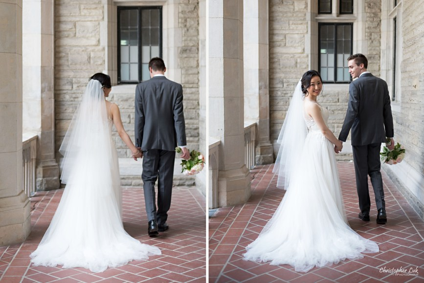 Christopher Luk Toronto Wedding Photographer - Casa Loma Conservatory Ceremony Creative Photo Session ByPeterAndPauls Paramount Event Venue Space Natural Candid Photojournalistic Bride Groom Castle Walking Holding Hands Look Back Smile