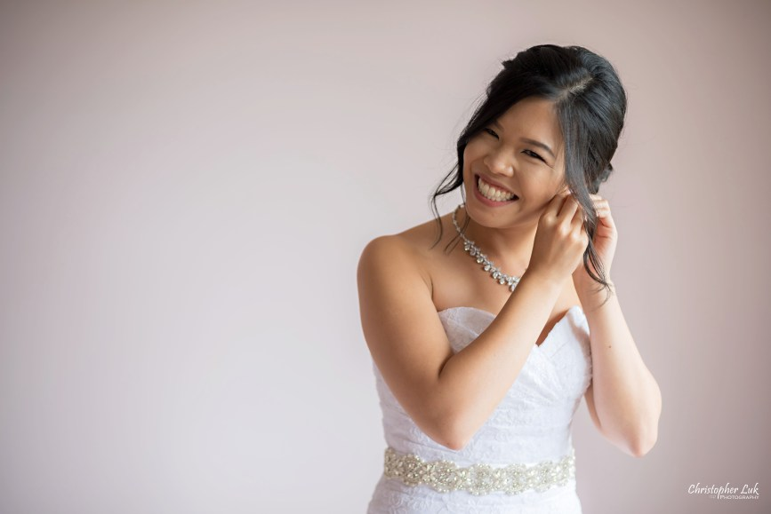 Christopher Luk - Toronto Wedding Photographer - Markham Home Private Residence Bride Alfred Angelo from Joanna's Bridal Natural Candid Photojournalistic Creative Portrait Earrings Smile