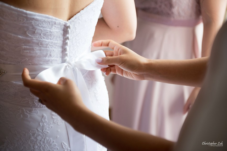 Christopher Luk - Toronto Wedding Photographer - Markham Home Private Residence Bride Alfred Angelo from Joanna's Bridal Natural Candid Photojournalistic Creative Curtains Portrait Bridesmaids Getting Ready Bridesmaid Crystal Belt Ribbon Tie Bow