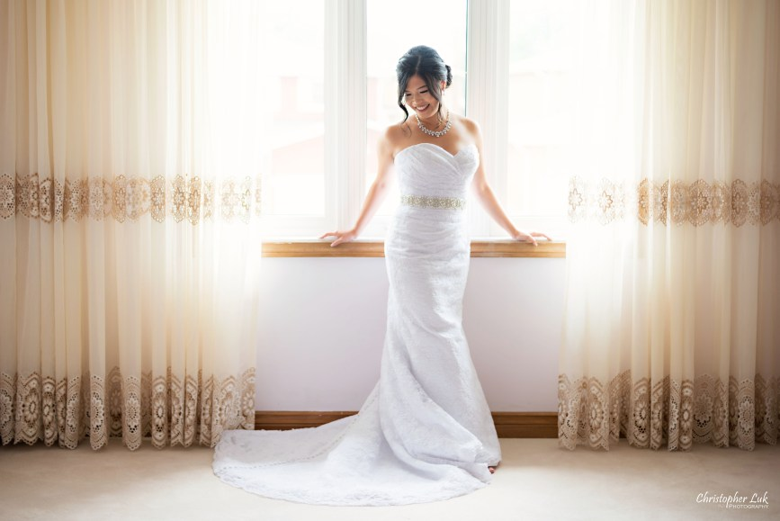 Christopher Luk - Toronto Wedding Photographer - Markham Home Private Residence Bride Alfred Angelo from Joanna's Bridal Natural Candid Photojournalistic Creative Curtains Wide Portrait Composition Frame Framing