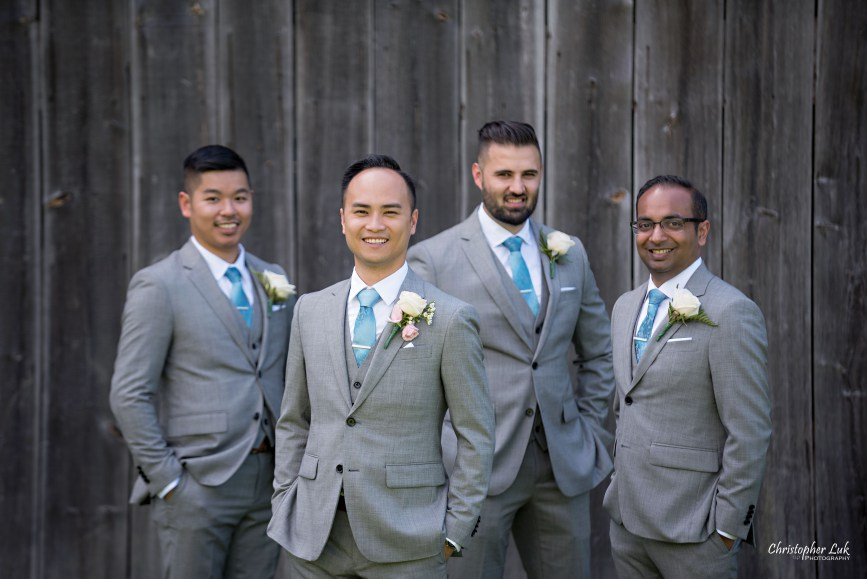 Christopher Luk - Toronto Wedding Lifestyle Event Photographer - Photojournalistic Natural Candid Markham Museum Creative Portrait Session Groom Groomsmen Barn Smile