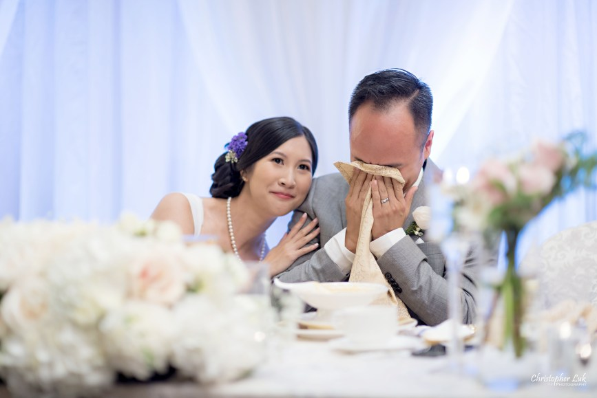 Christopher Luk - Toronto Wedding Lifestyle Event Photographer - Photojournalistic Natural Candid Casa Victoria Chinese Cuisine Dinner Reception Bride Groom Speeches Reaction Emotional Cry Wipe Tears